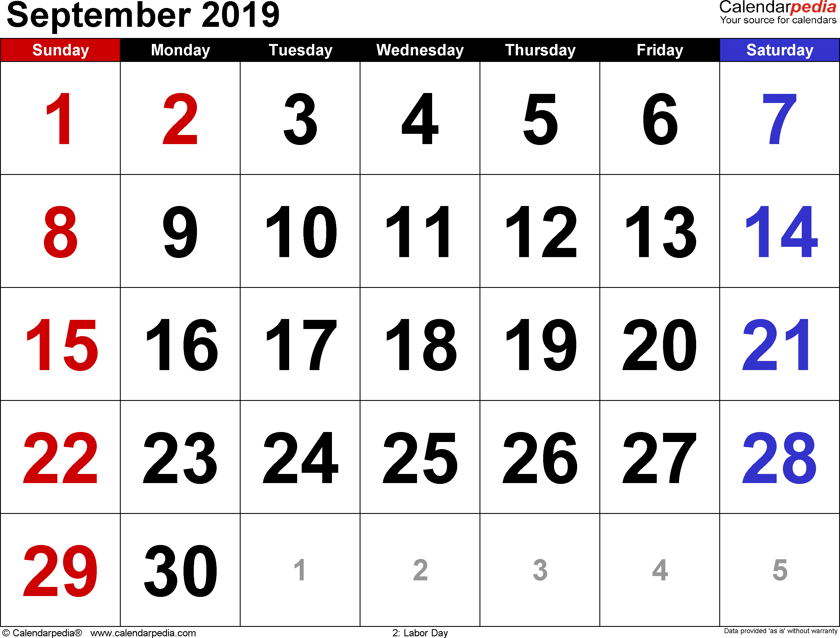 September 2019 calendar, landscape orientation, large numerals, available as printable templates for Word, Excel and PDF