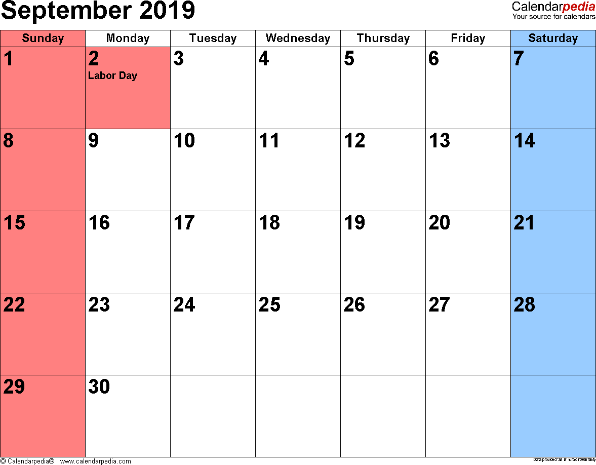 September 2019 calendar, landscape orientation, small numerals, available as printable templates for Word, Excel and PDF