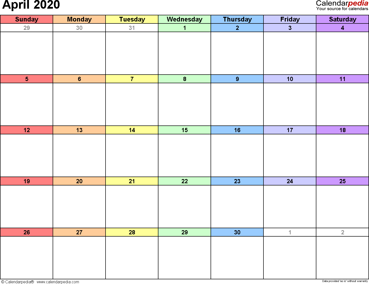 Calendar Template April 2020 April 2020 Calendars for Word, Excel & PDF