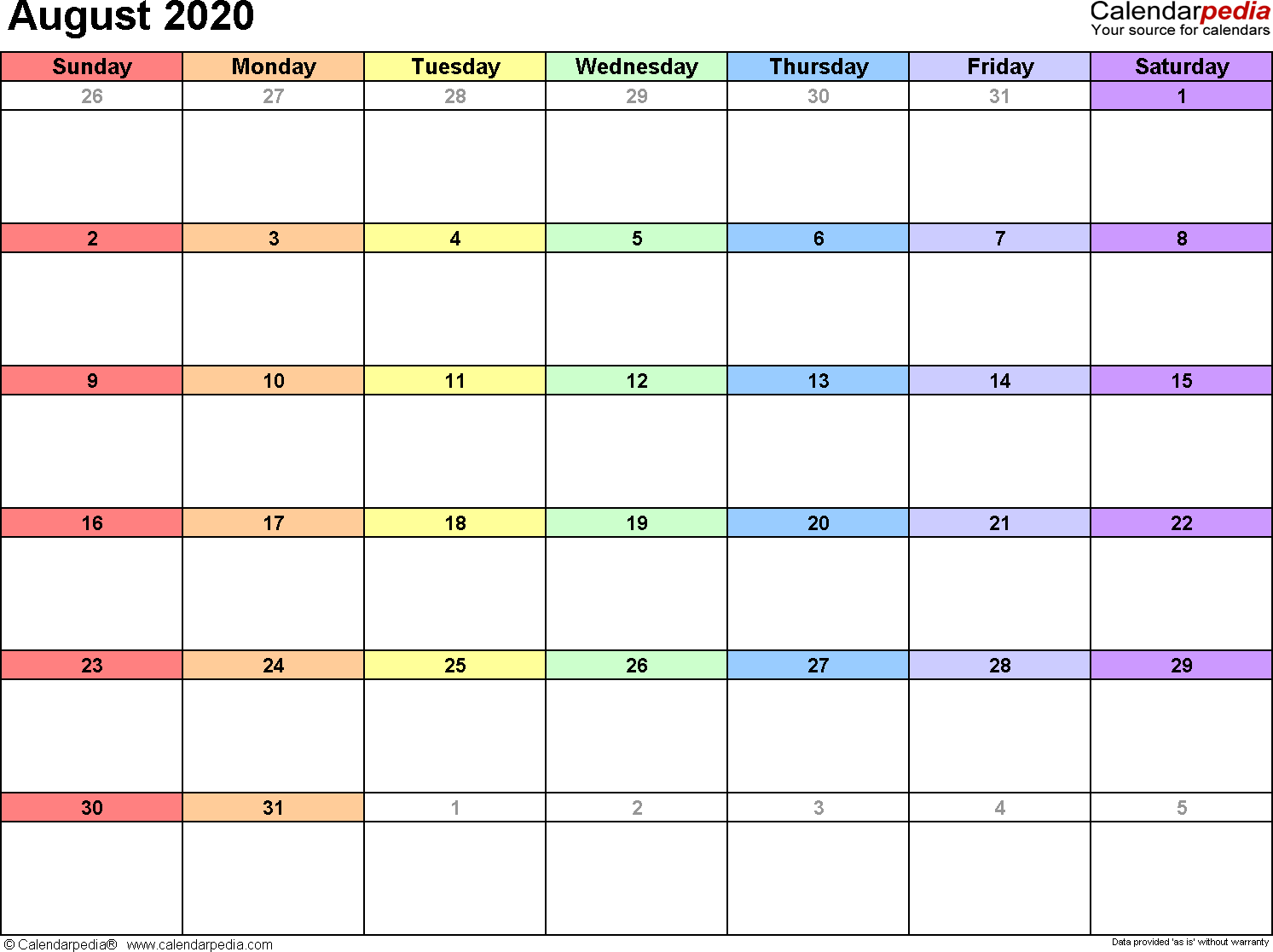 August 2020 Calendar Printable August 2020 Calendars for Word, Excel & PDF