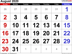 August 2020 calendar, landscape orientation, large numerals, available as printable templates for Word, Excel and PDF