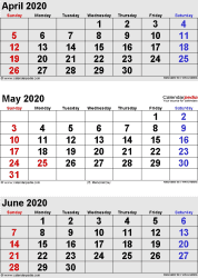 three month calendar April/May/June 2020 in portrait orientation, available as printable templates for Word, Excel and PDF