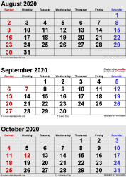 August September October 2020 Calendar September 2020 Calendars for Word, Excel & PDF