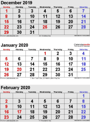 Printable Calendar For November December 2020 And January 2020 January 2020 Calendars for Word, Excel & PDF