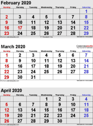 3 months calendar February/March/April 2020 in portrait format