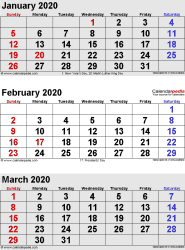 3 months calendar January/February/March 2020 in portrait format