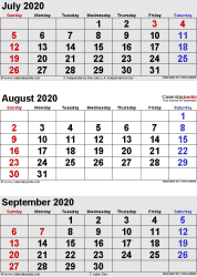 three month calendar July/August/September 2020 in portrait orientation, available as printable templates for Word, Excel and PDF