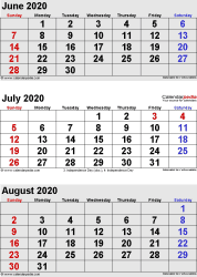 three month calendar June/July/August 2020 in portrait orientation, available as printable templates for Word, Excel and PDF