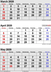 three month calendar March/April/May 2020 in portrait orientation, available as printable templates for Word, Excel and PDF