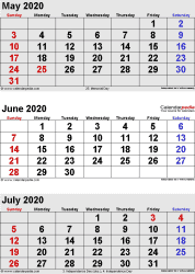 3 months calendar May/June/July 2020 in portrait orientation, available as printable templates for Word, Excel and PDF