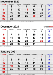 3 months calendar November/December 2020 & January 2021 in portrait format