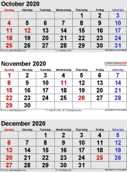 three month calendar October/November/December 2020 in portrait orientation, available as printable templates for Word, Excel and PDF