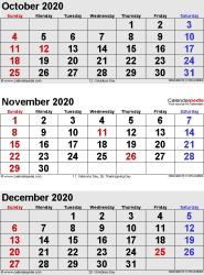 3 months calendar October/November/December 2020 in portrait format