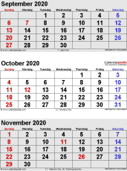 three month calendar September/October/November 2020 in portrait orientation, available as printable templates for Word, Excel and PDF