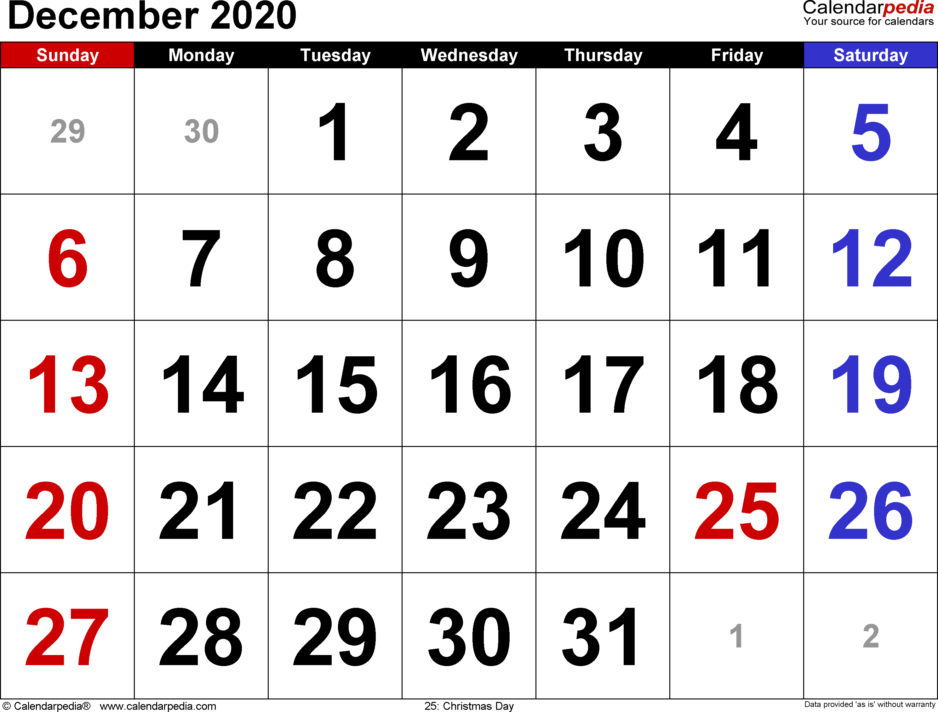 2020 December Calendar Printable Christmas December 2020 Calendars for Word, Excel & PDF