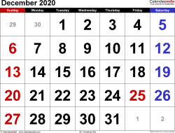 Monthly calendar templates for December 2020 in PDF format