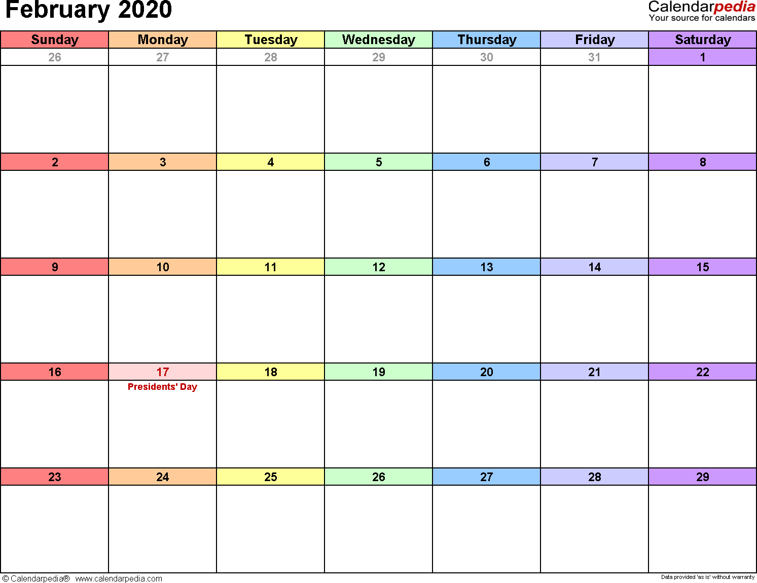 Calendar Print February 2020 February 2020 Calendars for Word, Excel & PDF