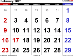 February 2020 calendar, landscape orientation, large numerals, available as printable templates for Word, Excel and PDF