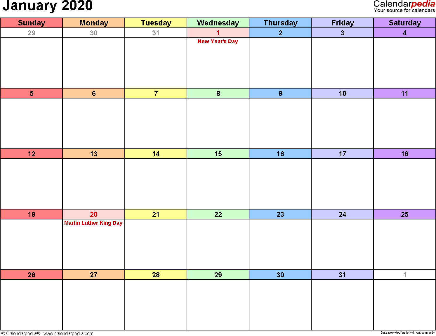 2020 Calendar For January January 2020 Calendars for Word, Excel & PDF