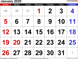 Monthly calendar templates for January 2020 in Microsoft Excel format