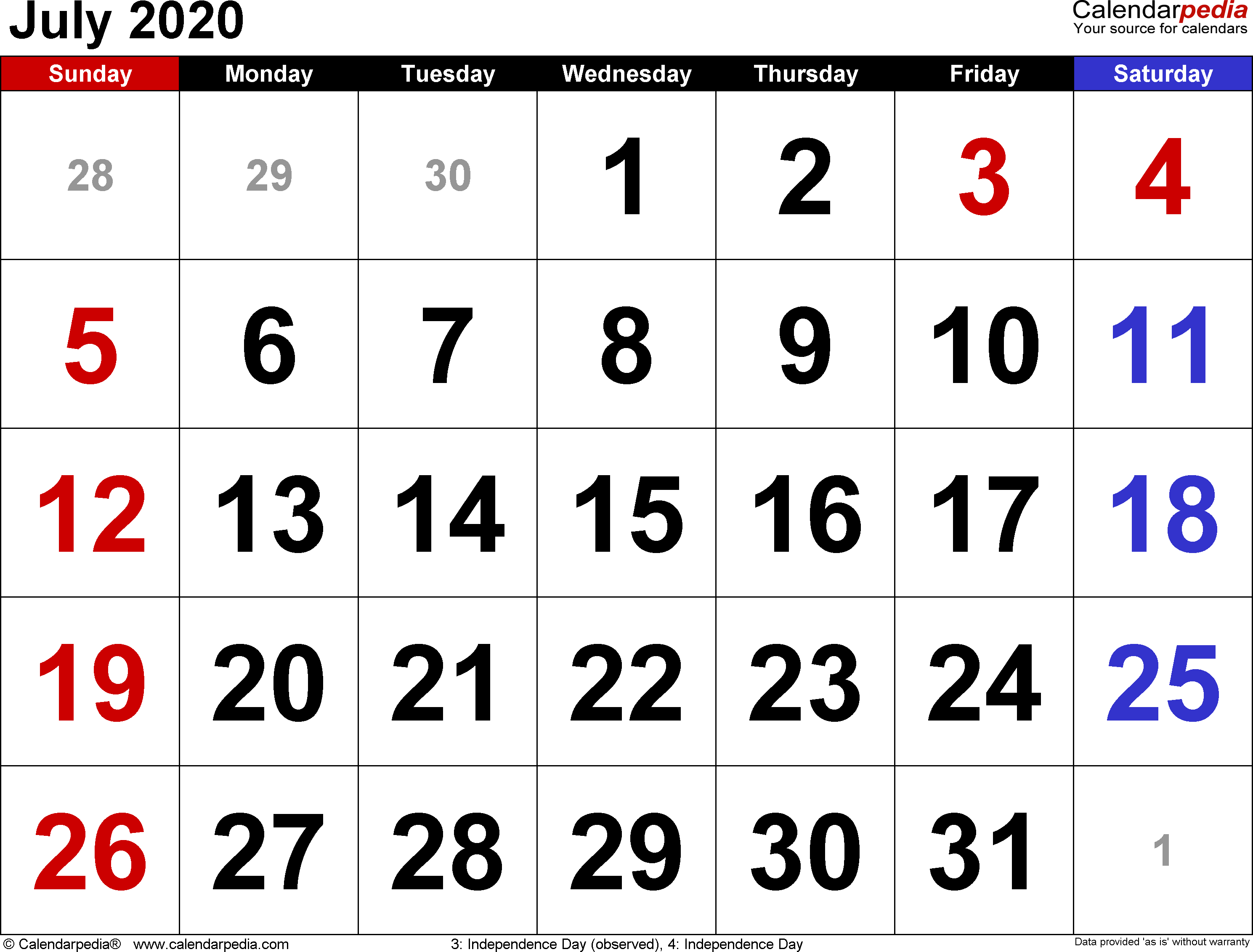 July Month Calendar 2020 July 2020 Calendars for Word, Excel & PDF