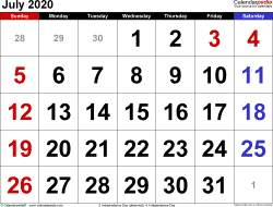 July 2020 calendar, landscape orientation, large numerals, available as printable templates for Word, Excel and PDF