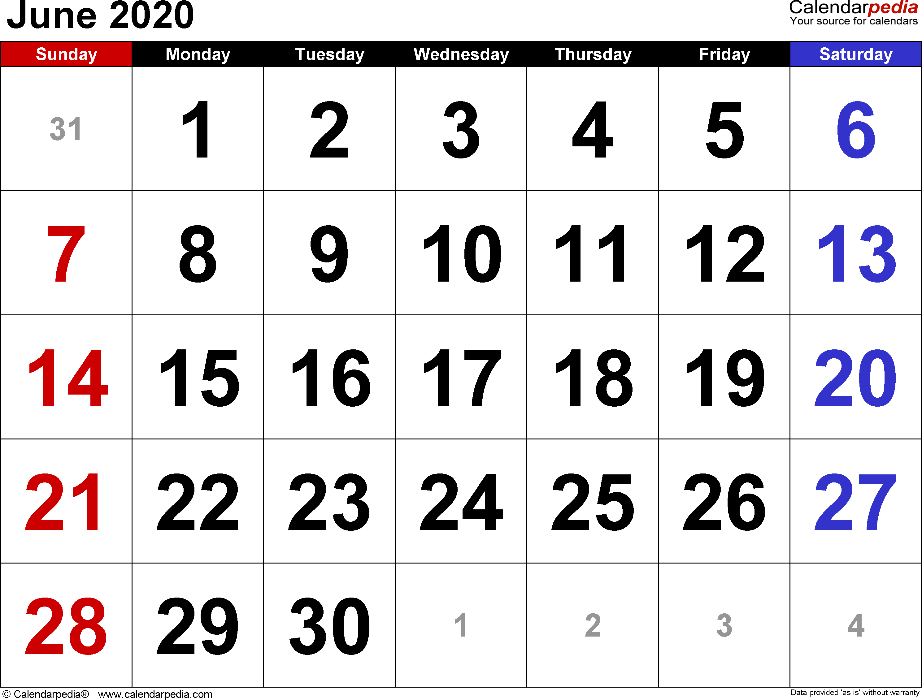 Calendar June 2020.June 2020 Calendars For Word Excel Pdf