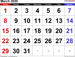 March 2020 calendar, landscape orientation, large numerals, available as printable templates for Word, Excel and PDF