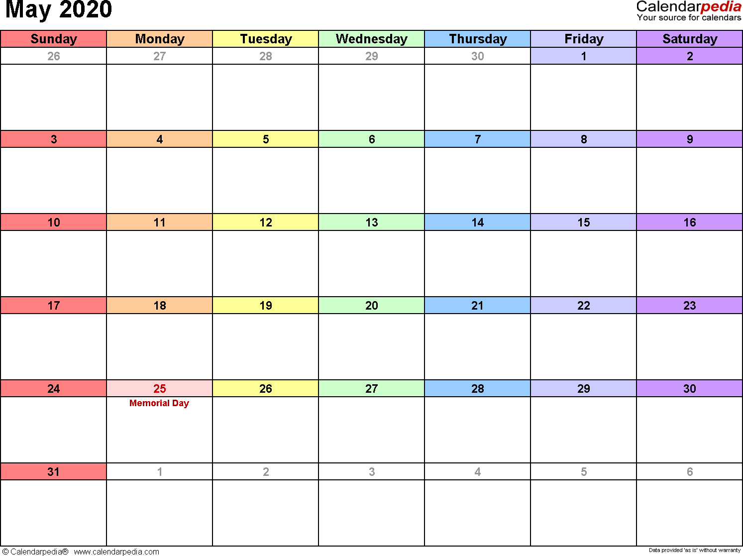 May Printable Calendar 2020.May 2020 Calendars For Word Excel Pdf