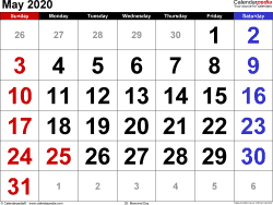 May 2020 calendar, landscape orientation, large numerals, available as printable templates for Word, Excel and PDF