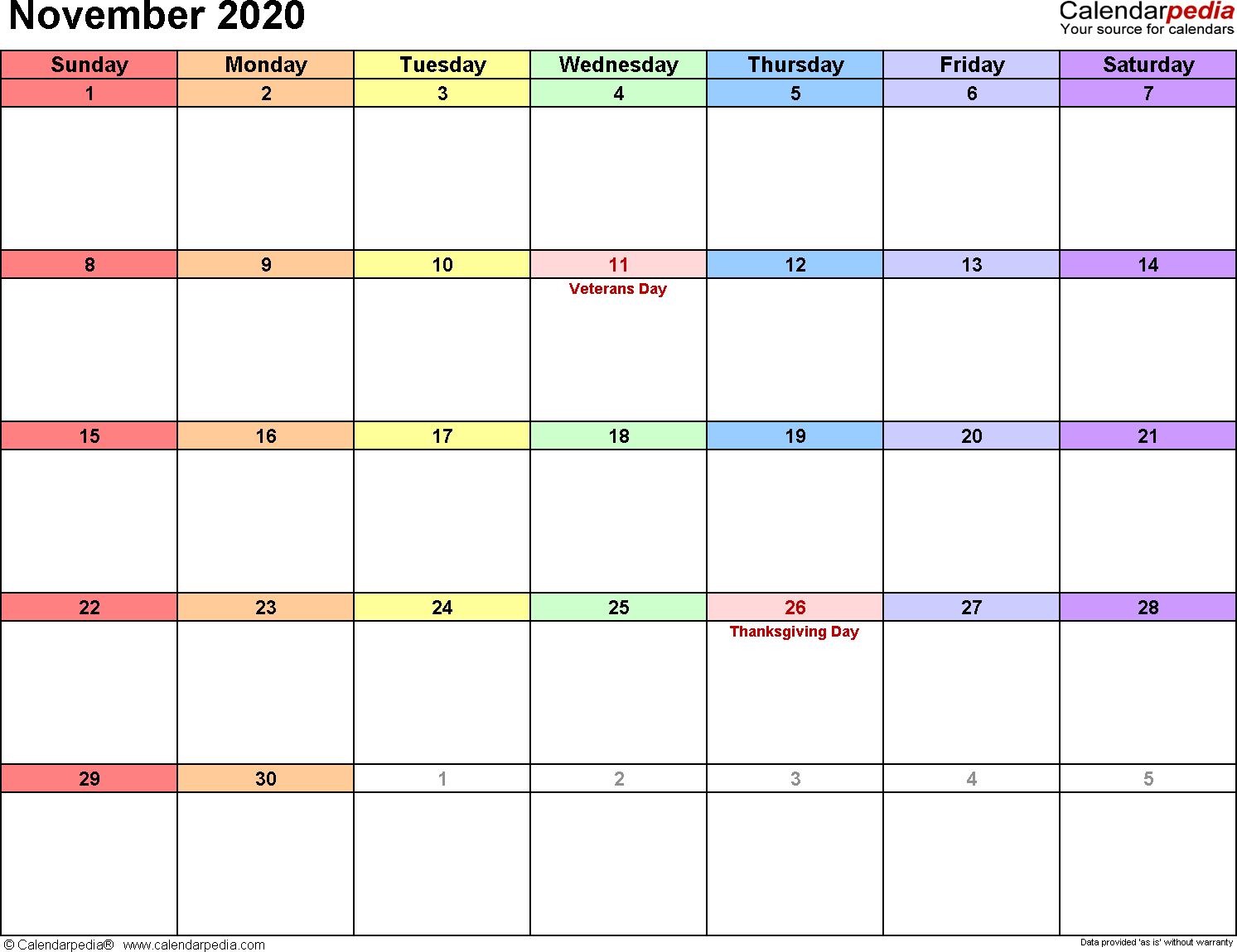 Calendar 2020 November Printable November 2020 Calendars for Word, Excel & PDF