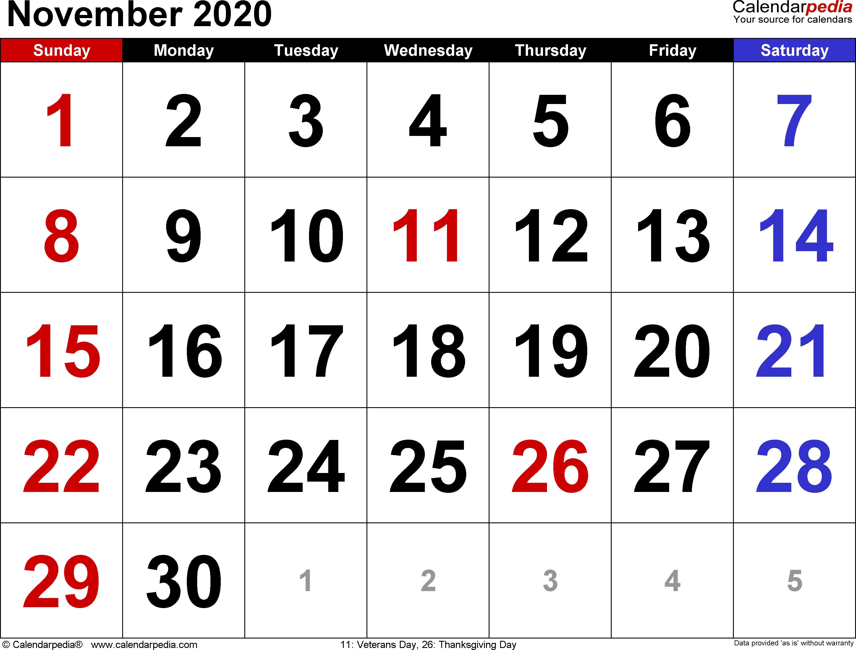 November 2020 Calendar Pdf November 2020 Calendars for Word, Excel & PDF