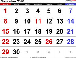 Monthly calendar templates for November 2020 in Microsoft Excel format