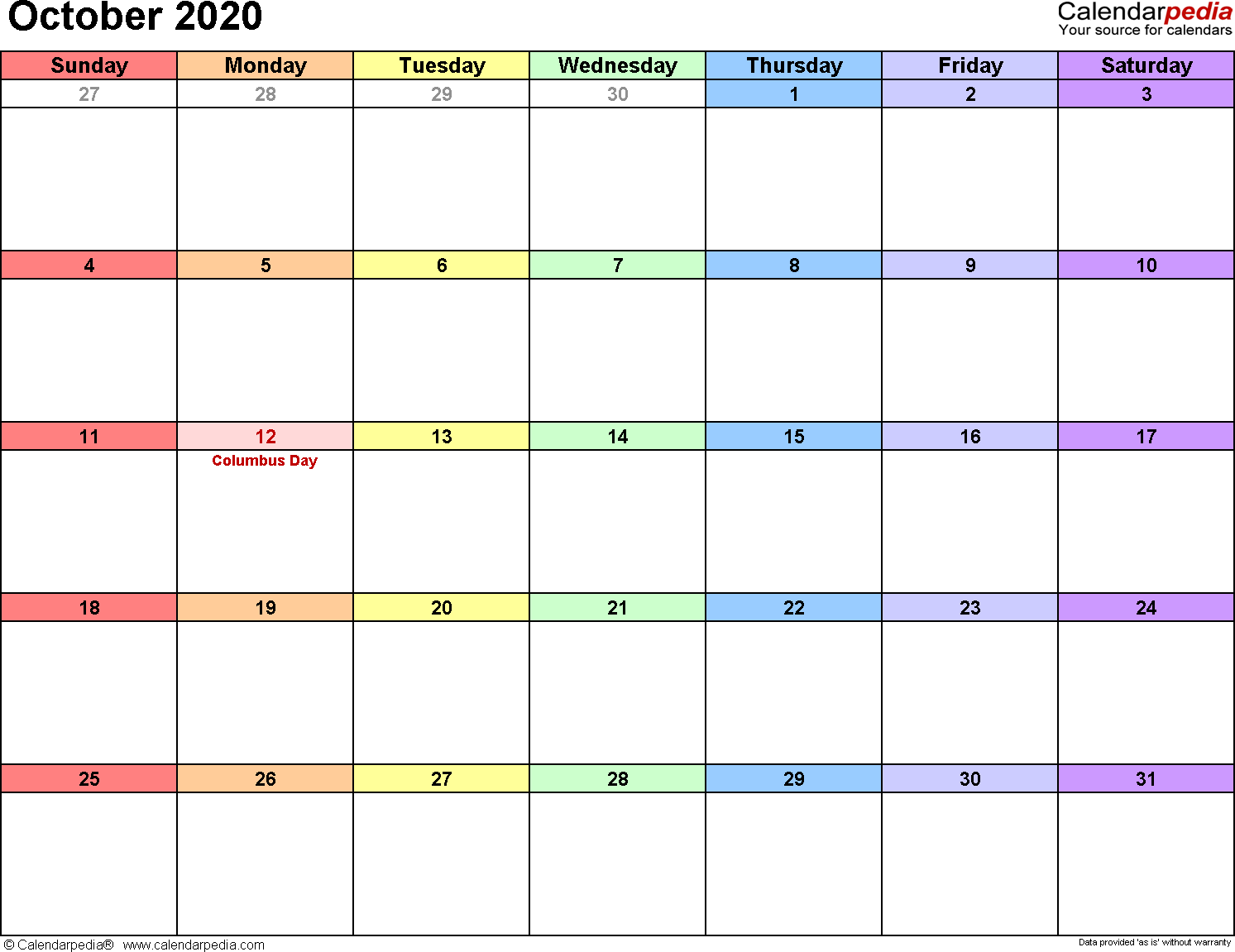 October 2020 Calendar Printable October 2020 Calendars for Word, Excel & PDF