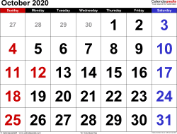 Monthly calendar templates for October 2020 in Microsoft Word format