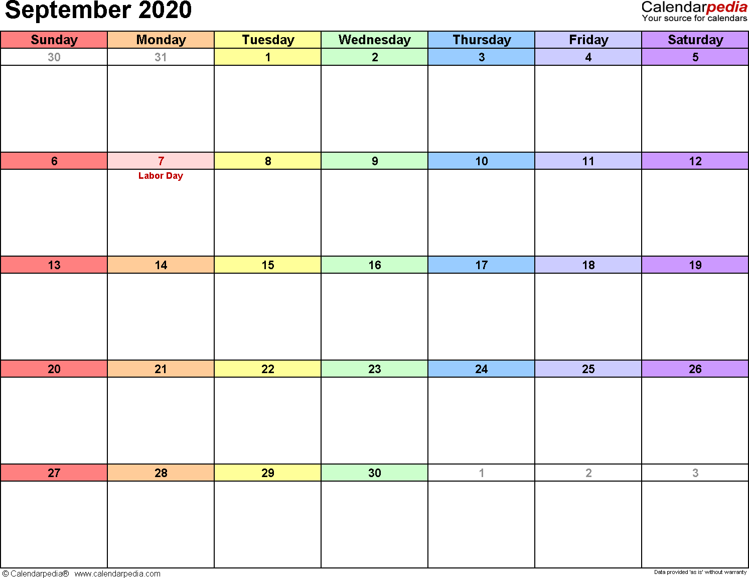 Calendar Sept 2020.September 2020 Calendars For Word Excel Pdf