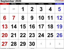 September 2020 calendar, landscape orientation, large numerals, available as printable templates for Word, Excel and PDF