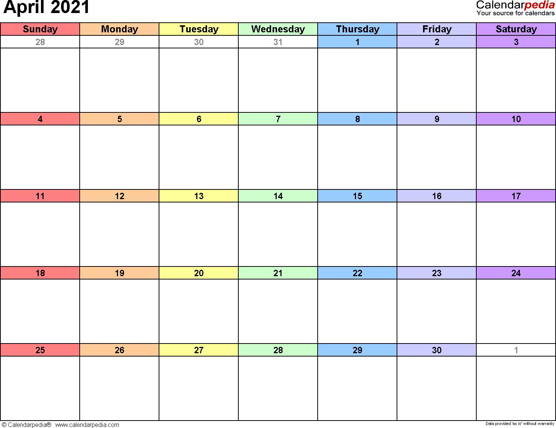 April 2021 calendar printable template