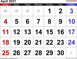 Monthly calendar templates for April 2021 in Microsoft Excel format