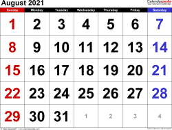 August 2021 calendar, landscape orientation, large numerals, available as printable templates for Word, Excel and PDF