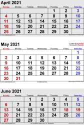 3 months calendar April/May/June 2021 in portrait format