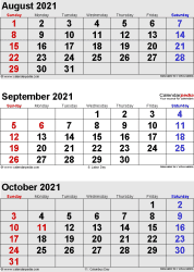 three month calendar August/September/October 2021 in portrait orientation, available as printable templates for Word, Excel and PDF