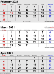 3 months calendar February/March/April 2021 in portrait format
