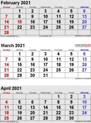 3 months calendar February/March/April 2021 in portrait format