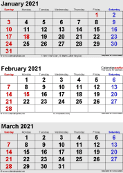 three month calendar January/February/March 2021 in portrait orientation, available as printable templates for Word, Excel and PDF