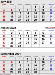 3 months calendar July/August/September 2021 in portrait format