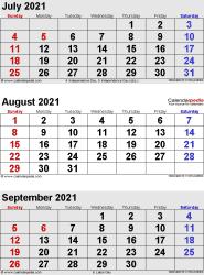 3 months calendar July/August/September 2021 in portrait format