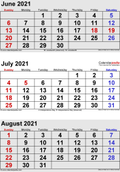 three month calendar June/July/August 2021 in portrait orientation, available as printable templates for Word, Excel and PDF