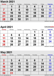three month calendar March/April/May 2021 in portrait orientation, available as printable templates for Word, Excel and PDF