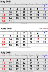 three month calendar May/June/July 2021 in portrait orientation, available as printable templates for Word, Excel and PDF
